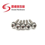 304 316 stainless steel pan head phillip set screw with flat washer spring lock washer
